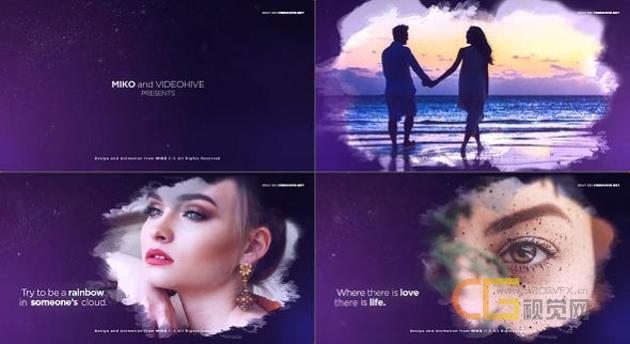 浪漫唯美粒子运动漏光效果紫色背景水墨晕染浪漫婚礼颁奖标题-AE模板下载