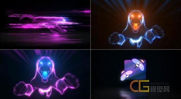 色彩闪烁霓虹灯美洲豹飞速奔跑扑向屏幕演绎独特Glitch扭曲LOGO动画-AE模板下载