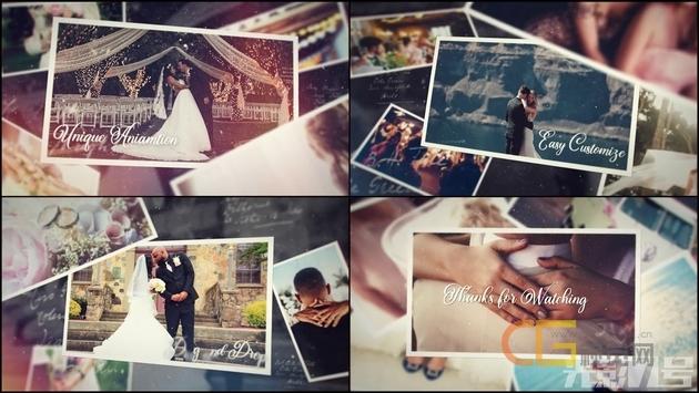 家庭相册优雅美丽回忆浪漫爱情婚礼照片幻灯片展示-AE模板