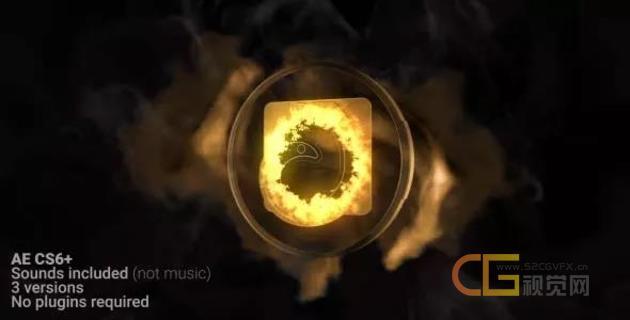 黄金风暴粒子特效演绎暗沙标志LOGO标题片头动画-AE模板