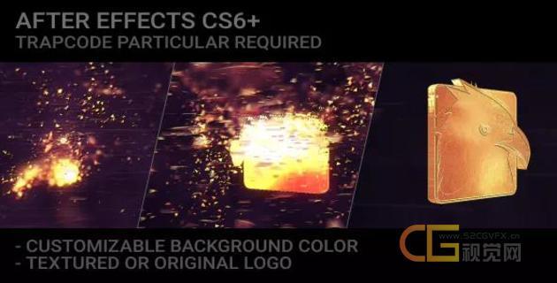 Particles插件制作粒子特效金色LOGO演绎动画视频片头效果-AE模板下载