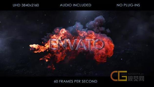 火焰喷射爆炸燃烧烟雾快速揭示4K标志LOGO片头-AE模板下载