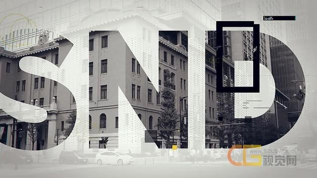 媒体推广创意宣传片头大文字遮罩像素拉伸转场视频AE模板