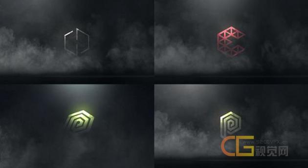 3D神秘烟雾粒子金属质感反射4k标志LOGO片头含音效-AE模板下载