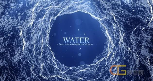 抽象波浪粒子浩瀚水流背景波光粼粼效果环保标题-AE模板下载