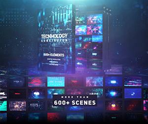 AE脚本-600+高科技HUD元素互联网数字数据信息UI界面场景动画